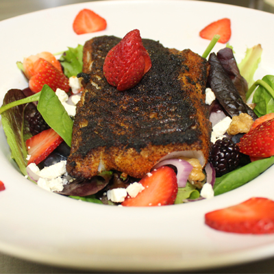strawberry swordfish salad